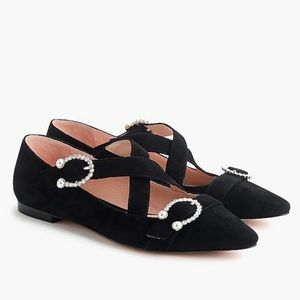 J Crew black suede criss cross flats new in box